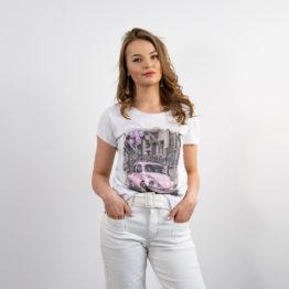 T-shirt z różowym nadrukiem
