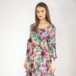 Jedwabna sukienka w kwiaty mini