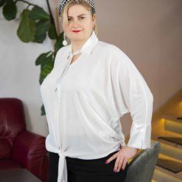 Biała koszula z błyszczącymi mankietami