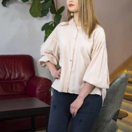 Koszula w paski z bufiastymi rękawami
