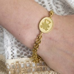 złota bransoletka z blaszką miś